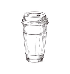 hand drawn coffee paper cup monochrome icon vector image