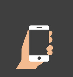 hand holding with mobile phone in flat design vector image