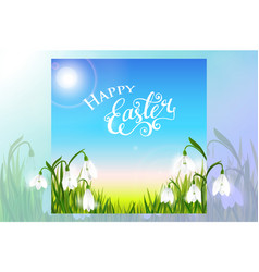 happy easter card with spring flowers green grass vector image