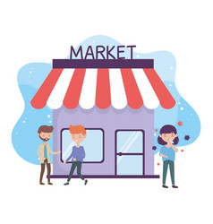 Health online avoid market and crowded places vector