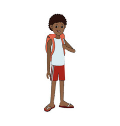 Hhandsome young dark skin man icon imag vector