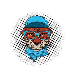 hipster leopard cool sketch vector image