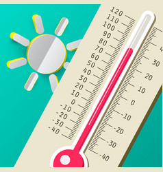 hot summer day thermometer with sun flat design vector image