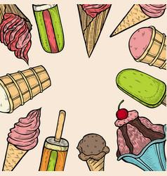Ice cream popsicle shop vector