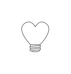 Icon concept of heart shaped light bulb black vector
