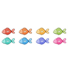 Isolated set cute fish vector