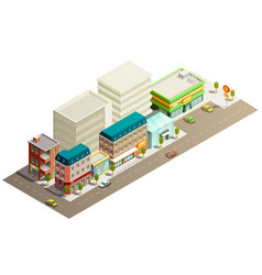 isometric store buildings concept vector image