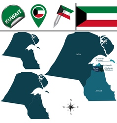 Kuwait map with named divisions vector image