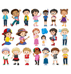 Large set boys and girls doing different vector