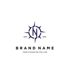 Letter n compass logo design vector