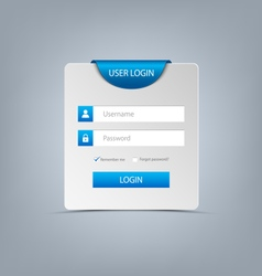 Login web screen with blue bookmark template vector image