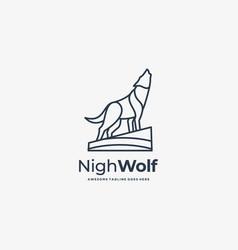 Logo night wolf line art style vector