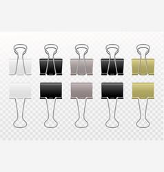 metallic paper clips realistic binder steel vector image