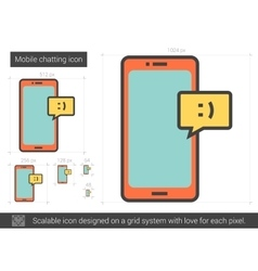 Mobile chatting line icon vector