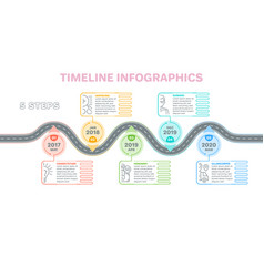 Navigation map infographics 5 steps timeline vector