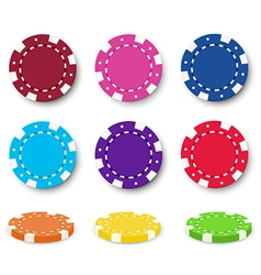 Nine colorful poker chips vector