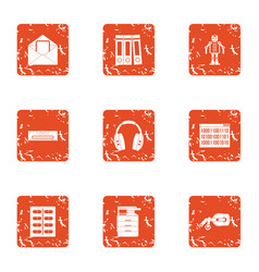 Office block icons set grunge style vector