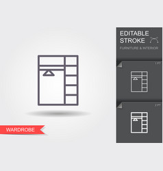Open wardrobe line icon with editable stroke with vector