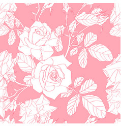 pattern with hand drawn line roses flowers vector image