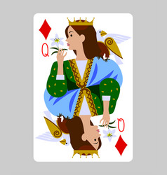Playing card queen diamonds in funny flat vector