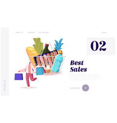 Sale consumerism landing page template customer vector