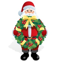 santa with wreath vector image