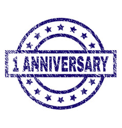 Scratched textured 1 anniversary stamp seal vector