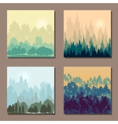 set different landscapes with trees an rising vector image