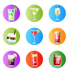 set nine tropical cocktails rounded image vector image