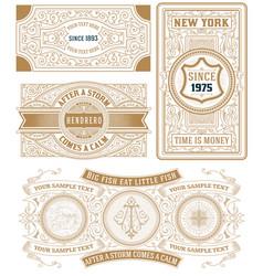 Set of 4 vintage cards vector