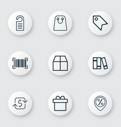 Set of 9 ecommerce icons includes price stamp vector