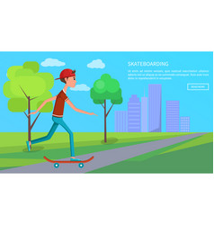 Skateboarding banner skateboarder shirt and jeans vector