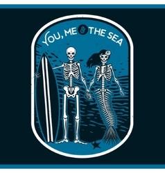 skeleton surfer art vector image