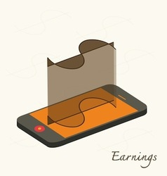 smartphone with Dollar icon on display flat vector image