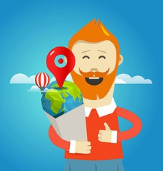 smiling hipster with bag travel concept vector image