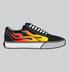 sneakers fire vector image