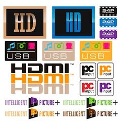 Sticker tv and icon vector