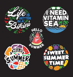 summer saying quote set vector image