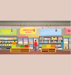 Supermarket interior people vector
