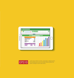 Tablet with spreadsheet on screen office things vector