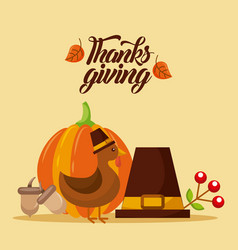 Thanksgiving card invitation turkey hat pumpkin vector