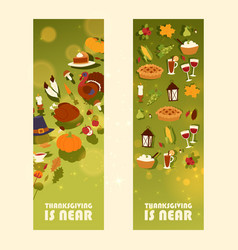 thanksgiving is near set banners vector image