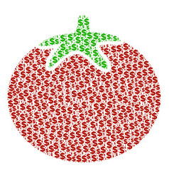 tomato vegetable collage of dollar and dots vector image