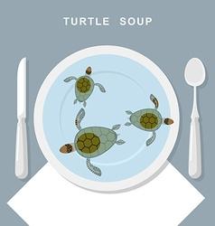 Turtle soup Sea turtles swim in plate Exotic vector
