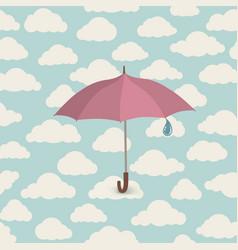 Umbrella over seamless cloudy sky pattern spring vector