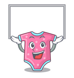 Up board character baby clothes hanging on vector
