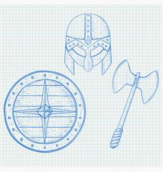 viking warrior set - shield axe and helmet hand vector image
