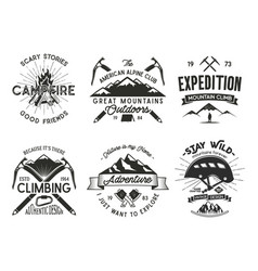 vintage mountaineering badges set climbing logo vector image