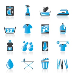 Washing machine and laundry icons vector image