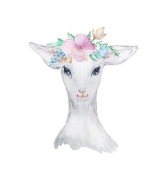 Watercolor a white lamb with flowers on his vector
